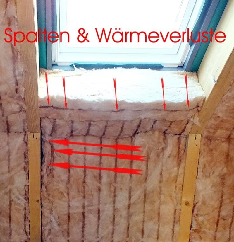 Bauüberwachung, Bauberatung, Bauabschnittsbegleitung, Baubetreuung, Bauabschnittsbegutachtung, Bauberater Dämmung Dachfenster mit Fehlstellen